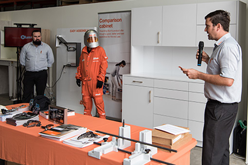 Blum demonstration of usability testing on cabinets